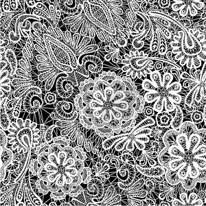 Кружева бесшовные модели с цветами - ткань - клипарт в ...