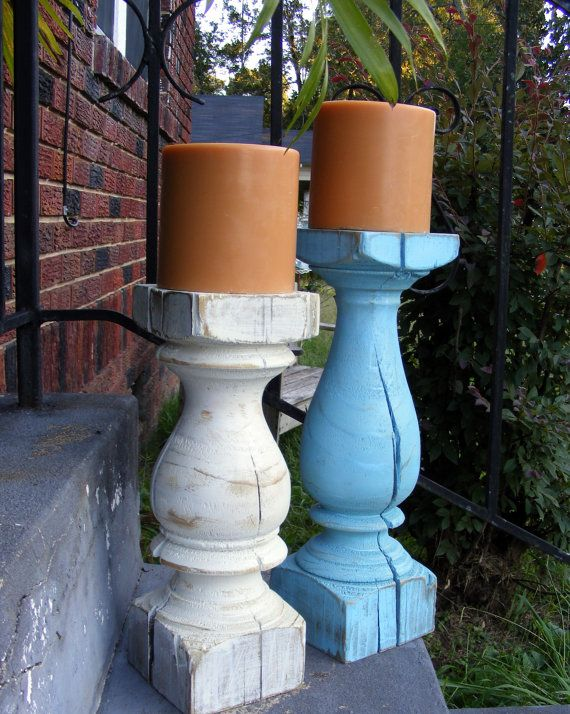 Super Chunky Handcrafted Candlesticks Set of 2 by TheWoodworkMan, $89.00
