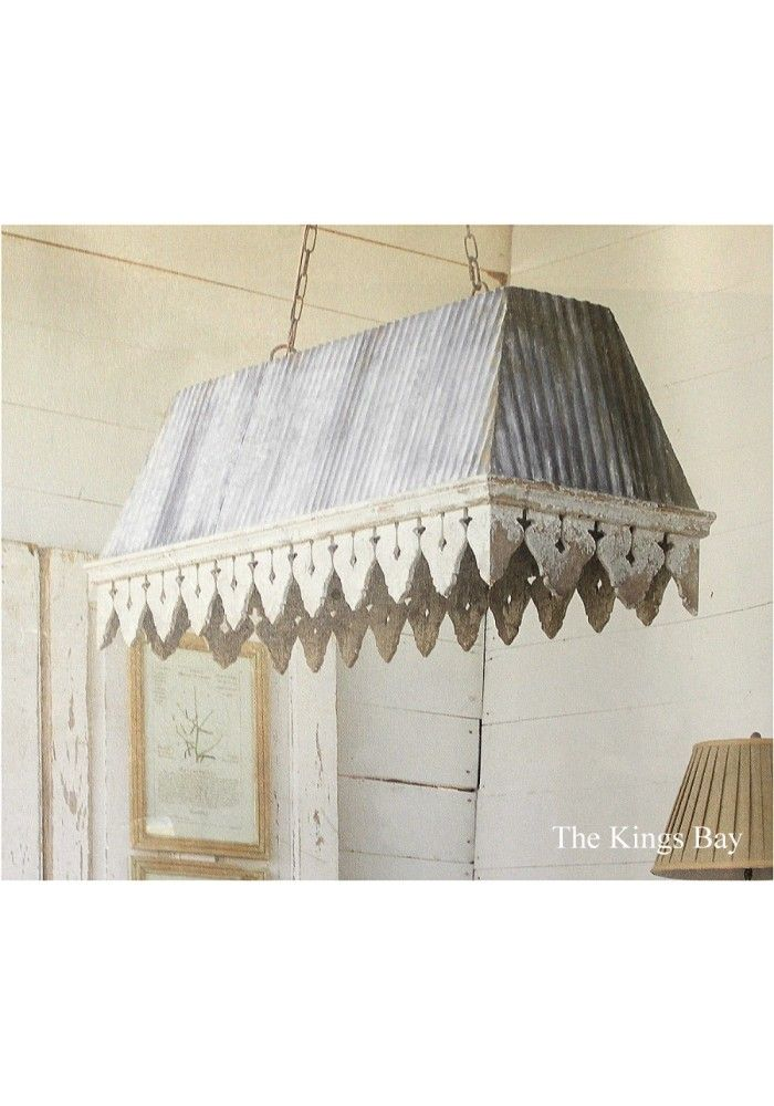 Galvanized Tin Roof With Rust Ribbed Antique Style Big Chandelier
