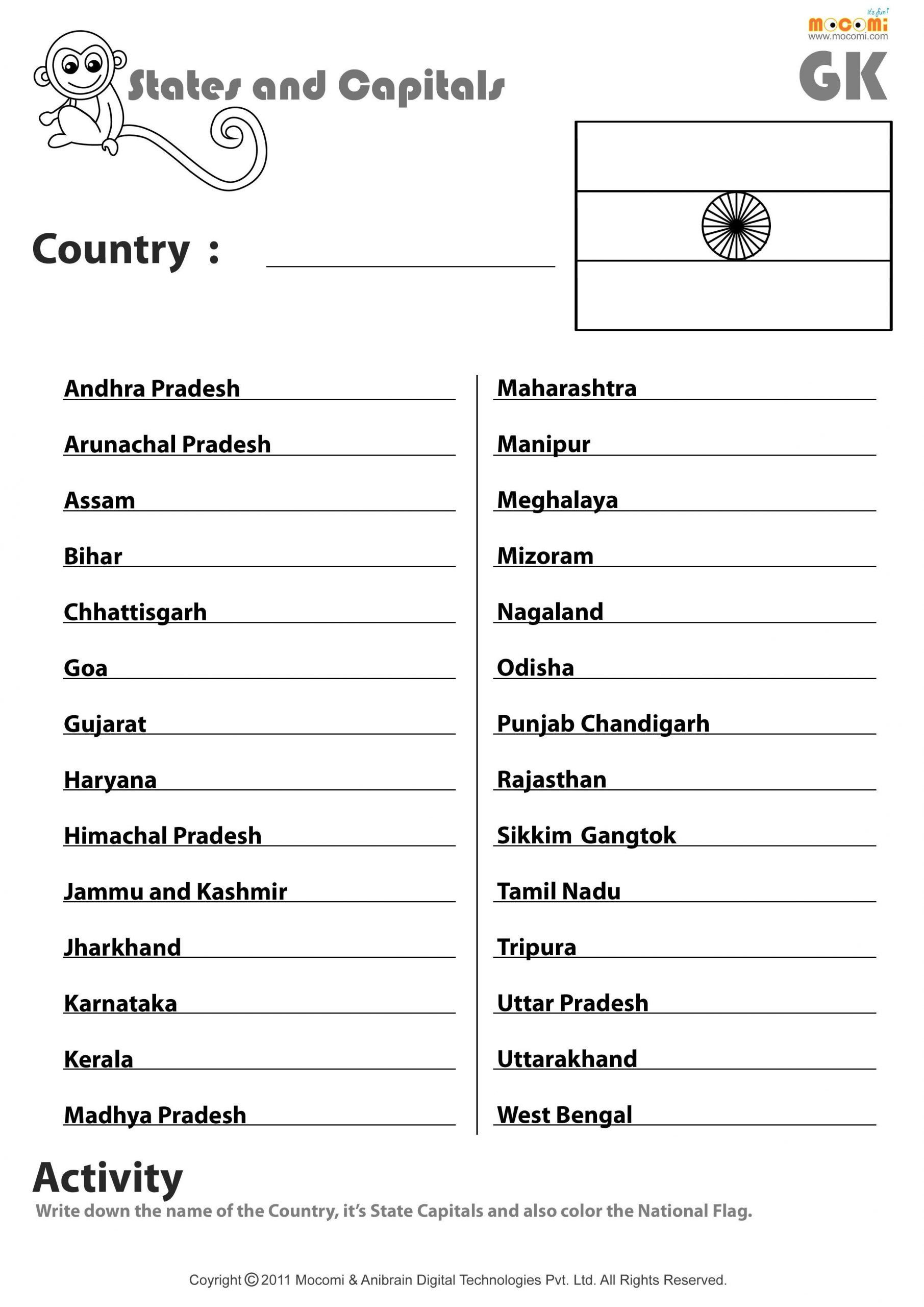 States And Capitals Matching Worksheet Indian States And