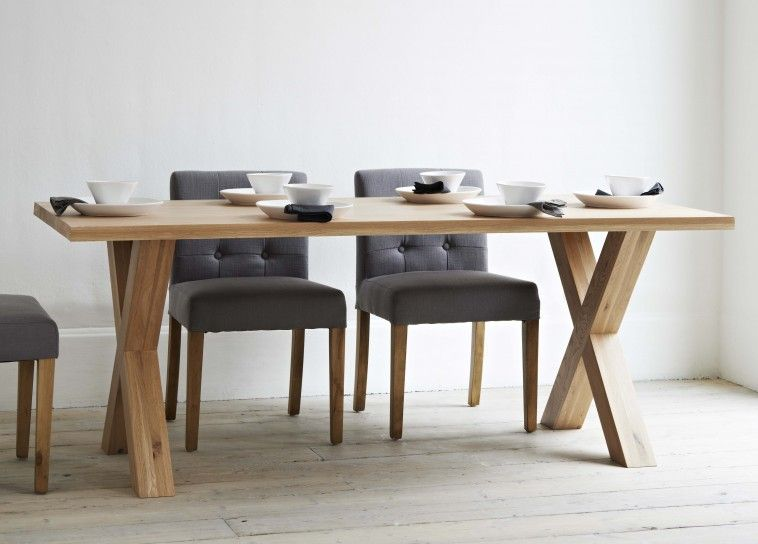 Marvelous Rectangle Brown Oak Dining Table With Double X Bases On White Wooden Floor  Connected By Grey Amazing Ideas