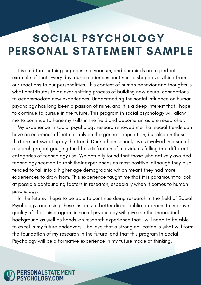 Social Psychology Personal Statement Sample Example Educational Science