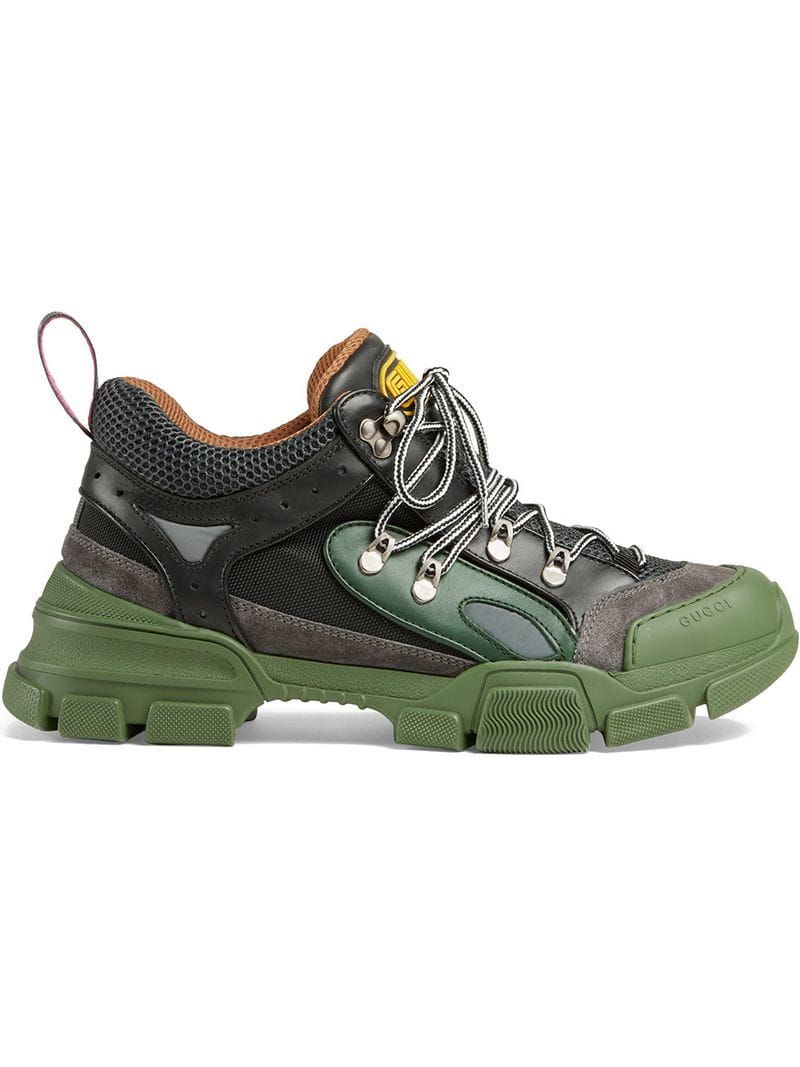 974096b28 GUCCI GUCCI GREEN AND GREY FLASHTREK SNEAKERS. #gucci #shoes | Gucci ...
