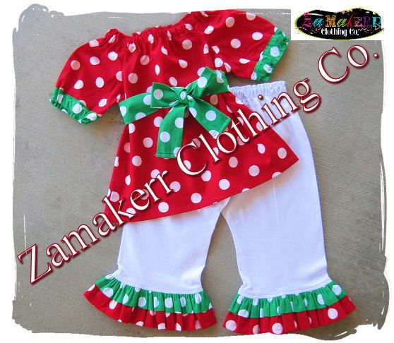 d89ba05ef33 Girl Christmas Outfit - Baby Girl Christmas Clothes Pant Set - Santa Outfit  Clothing 3 6 9 12 18 24 month size 2T 2 3T 3 4T 4 5T 5 6 7 8 on Etsy