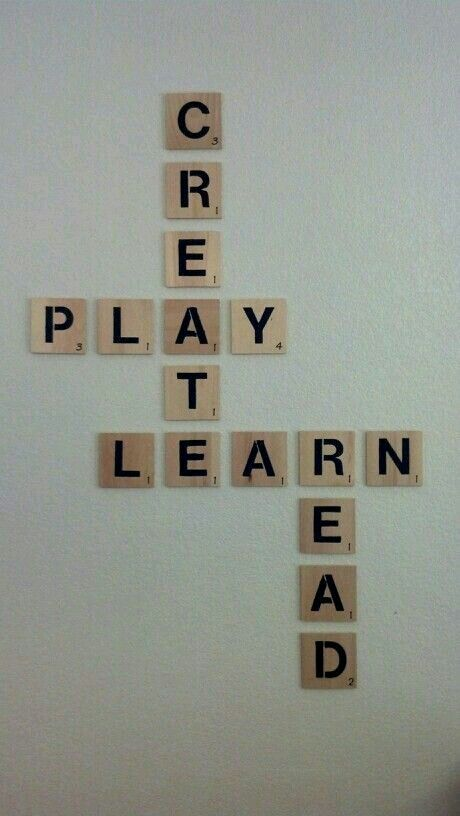 Super cute giant scrabble pieces as wall decor! | Loft Playroom in ...