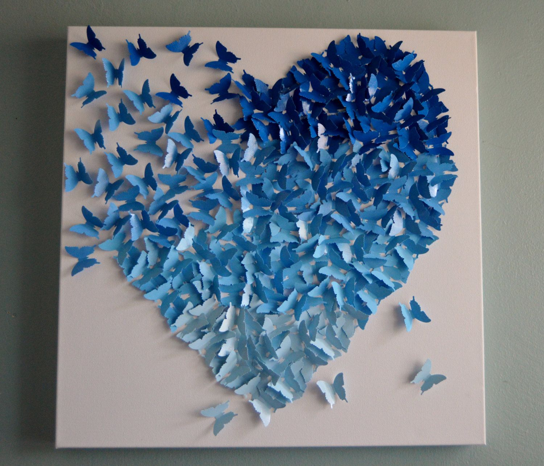 Butterfly Heart, Ombre Heart, Blue 3D Butterfly Canvas, Butterfly, Nursery,