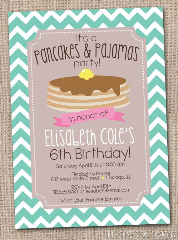 What an adorable idea!!  Pancakes and Pajamas Printable Birthday Party Invitation Chevron Stripes