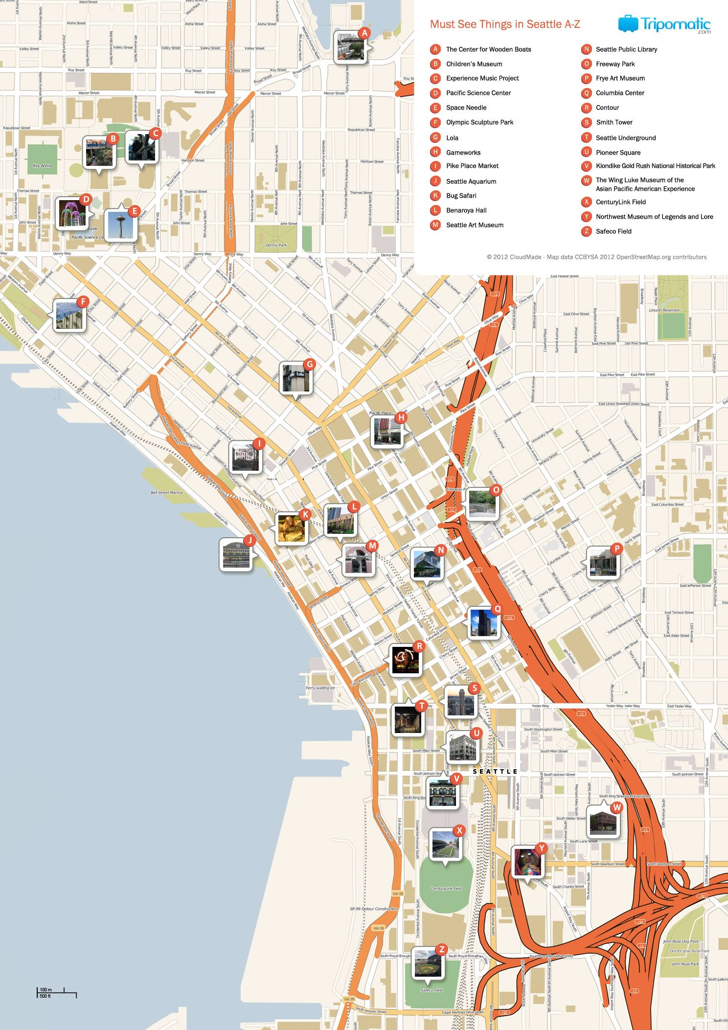 Free Printable Map of Seattle attractions from Tripomatic Get – Tourist Attractions Map In Washington State