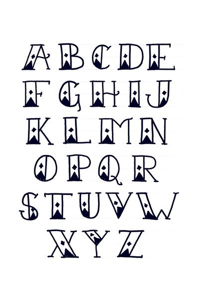 SailorS Diamond Tattoo Font Alphabet  Print Art Print By Out Of