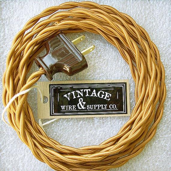 golden bronze cloth covered wire 8 ft cordset rewire vintage rh pinterest com antique lamp wiring kit antique lamp wiring repair