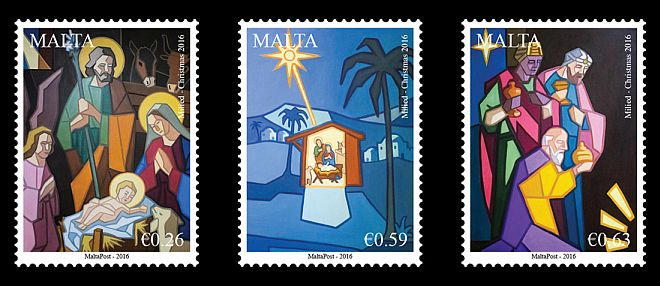 Malta Christmas 2016 stamp issue reproduces images of the Nativity of Jesus Christ from three paintings by Maltese artist Joseph Pulo.