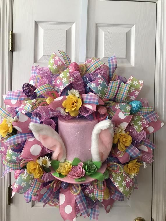 Photo of Easter Wreath, Easter Wreaths, Easter Deco Mesh Wreath, Bunny Top Hat Wreath, Deco Mesh Wreath, Spring Wreath, Easter Home Decor, Deco mesh