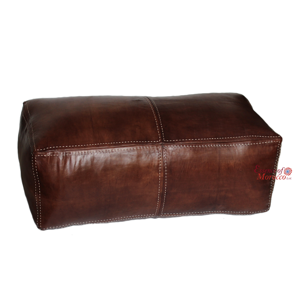 Square handcrafted moroccan leather pouf dark tan pouf pouffe ottoman - Leather Moroccan Pouffe Ottoman