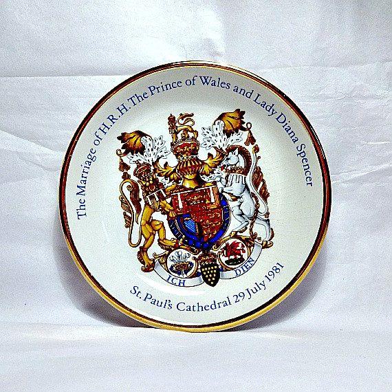 Charles And Diana Wood Sons English Pottery Pin Dish Royal Wedding Princess Prince British Memorabilia