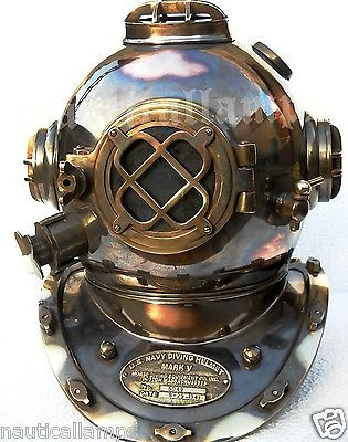 Antique U.S Navy Brass Divers Diving Helmet Mark V FULL SIZE Deep sea Scuba gift - http://scuba.megainfohouse.com/antique-u-s-navy-brass-divers-diving-helmet-mark-v-full-size-deep-sea-scuba-gift/
