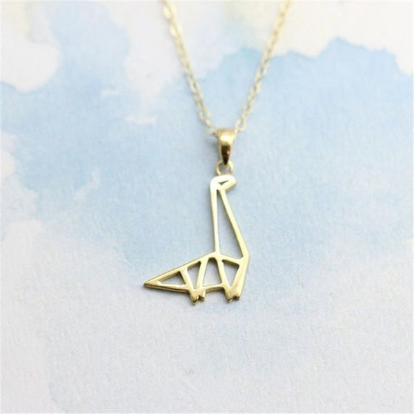 Photo of Delicate gold/silver origami dinosaur necklace pendant necklace cute animal pendant necklace for girls | Wish