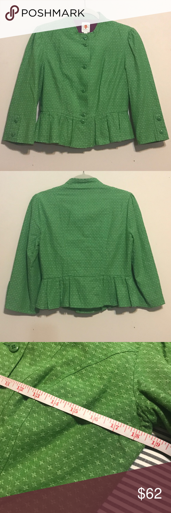 Anthropologie green jacket Tulle green peplum jacket.  Fully lined.  EUC. Bundle for best deals. Anthropologie Jackets & Coats Blazers