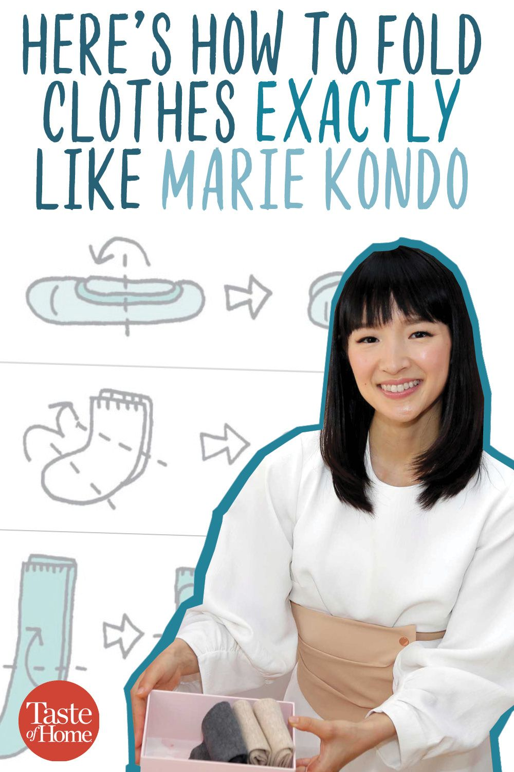Here's How to Fold Clothes Exactly Like Marie Kondo #foldingclothes