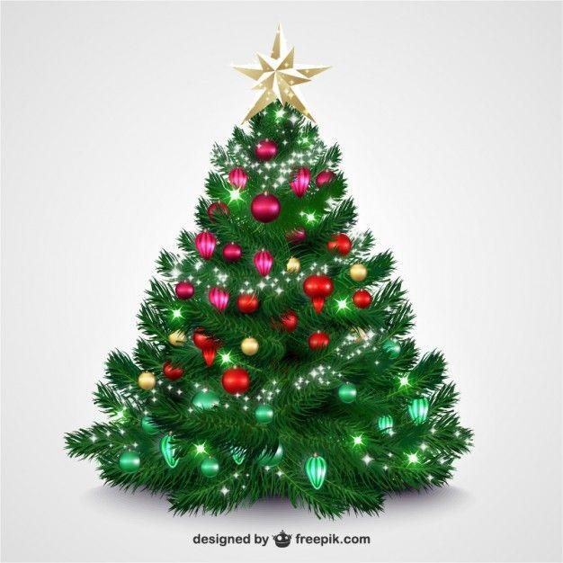 rbol de Navidad con adornos brillantes Vector Gratis Navidad y