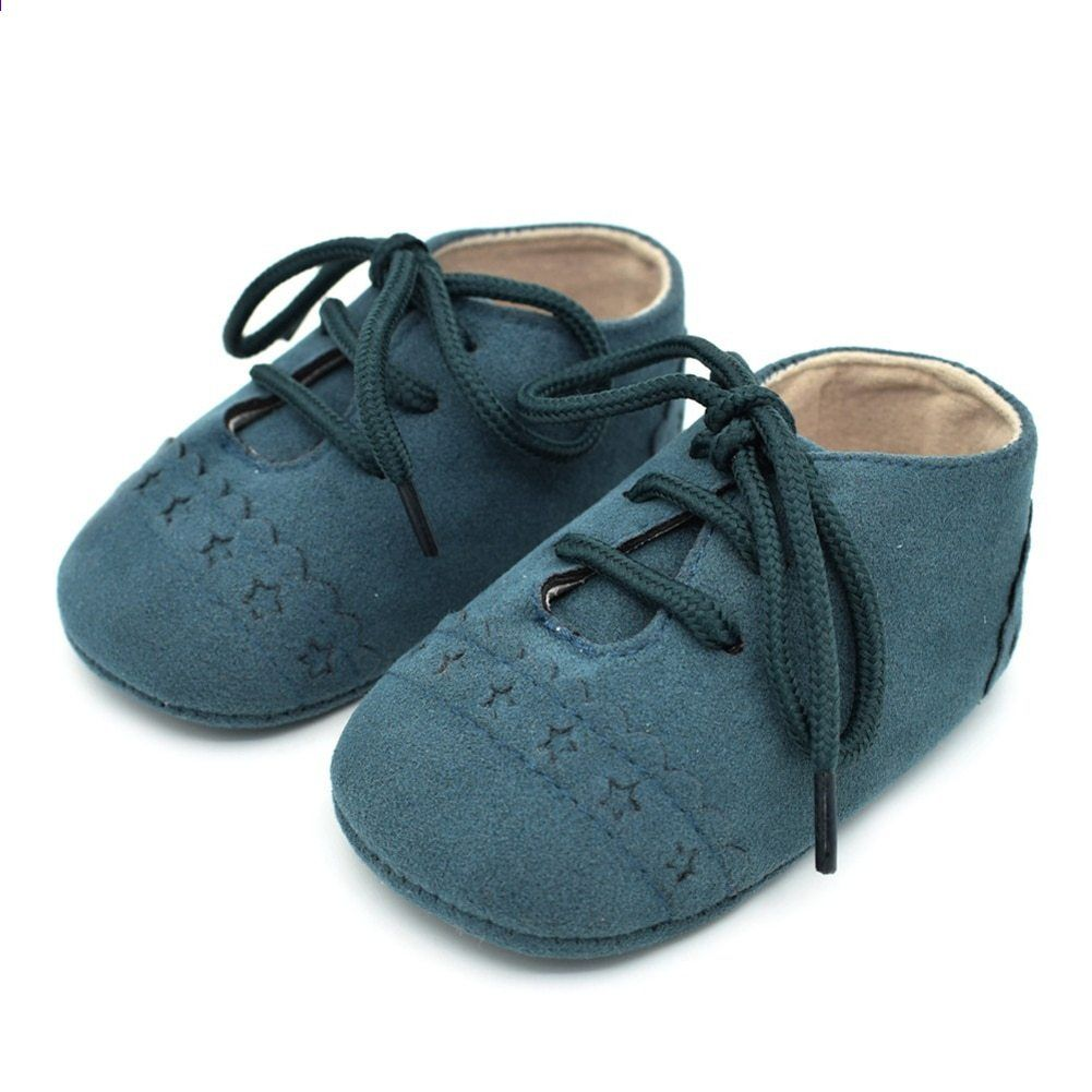 Inch Blue Baby Girls Boys Luxury Leather Soft Sole Pram Shoes Moccasin Grey