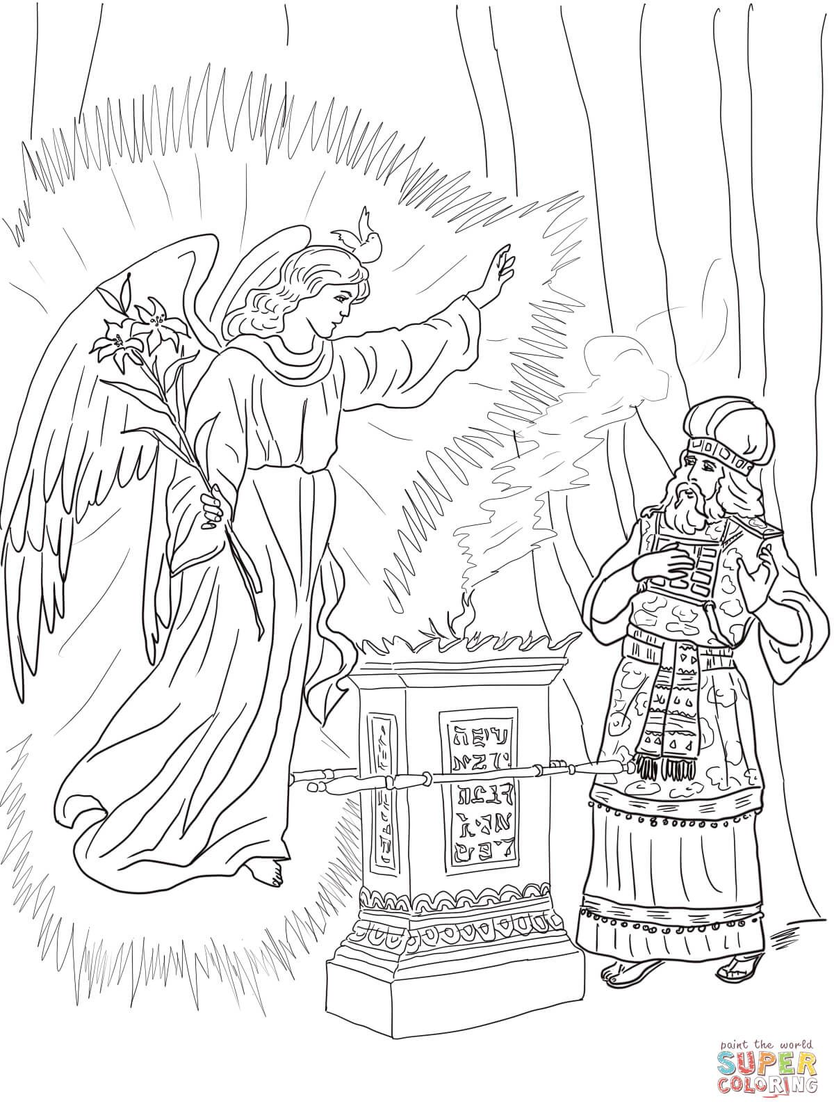 2-angel-visits-zechariah-coloring-page.jpg (1200×1600) | Education ...