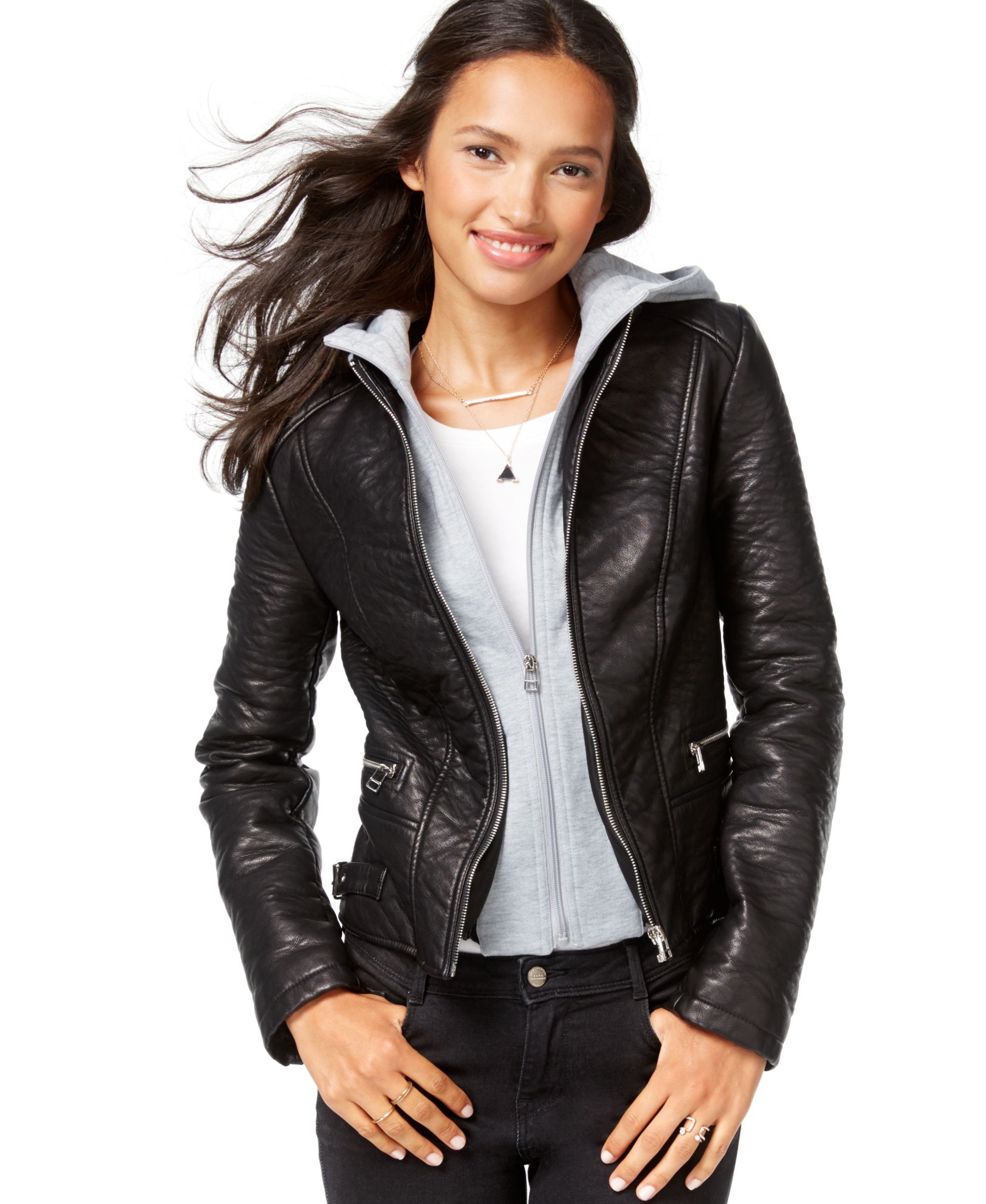 Wildflower FauxLeather Layered Hoodie Jacket Blazer