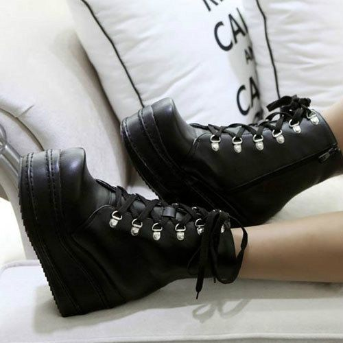 ee22b925c80e Women s Lace Up Goth Punk Ankle Platform Boots by crunella on Etsy ...