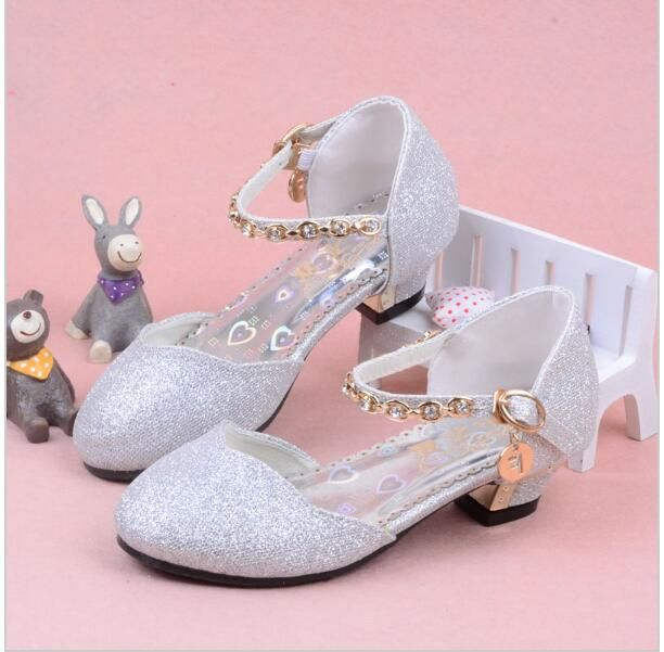cbc38ad573e9 Enfants 2016 Children Princess Sandals Kids Girls Wedding Shoes High Heels Dress  Shoes Party Shoes For Girls Pink Blue Gold