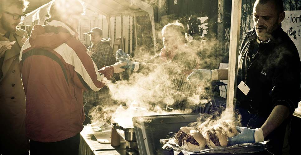 The Rib Man @ work: Find out more about this street food vendor at cookoutchef.com. #cookoutchef