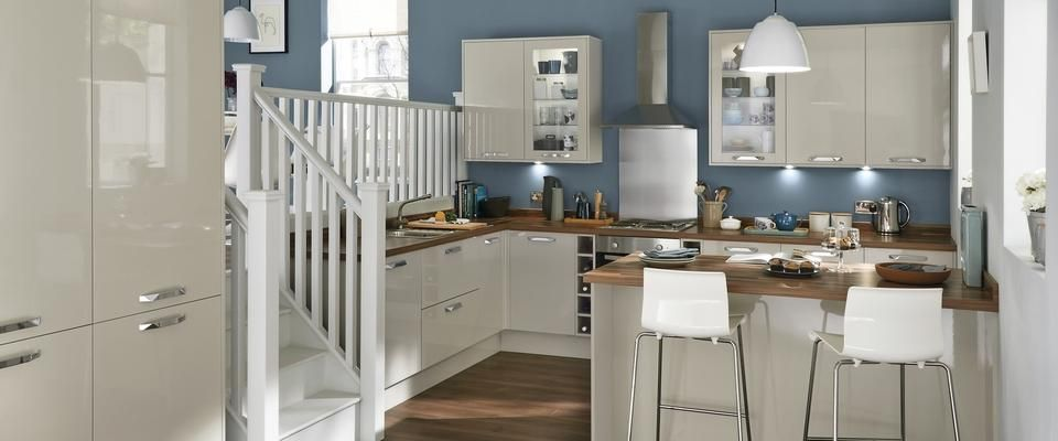 Greenwich Gloss Flint Grey by Howdens. This is the kitchen we have ...