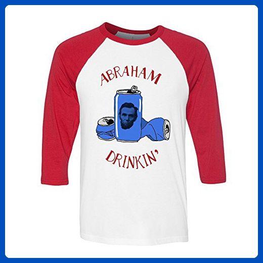 d3b57b7d8100b Abraham Drinkin 4th of July Drinking Baseball Shirt Men s X-Large White Red  -
