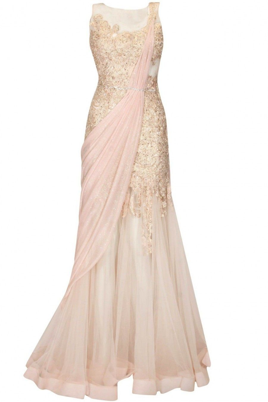 Creamy peach lace work pre draped saree gown available only at ...