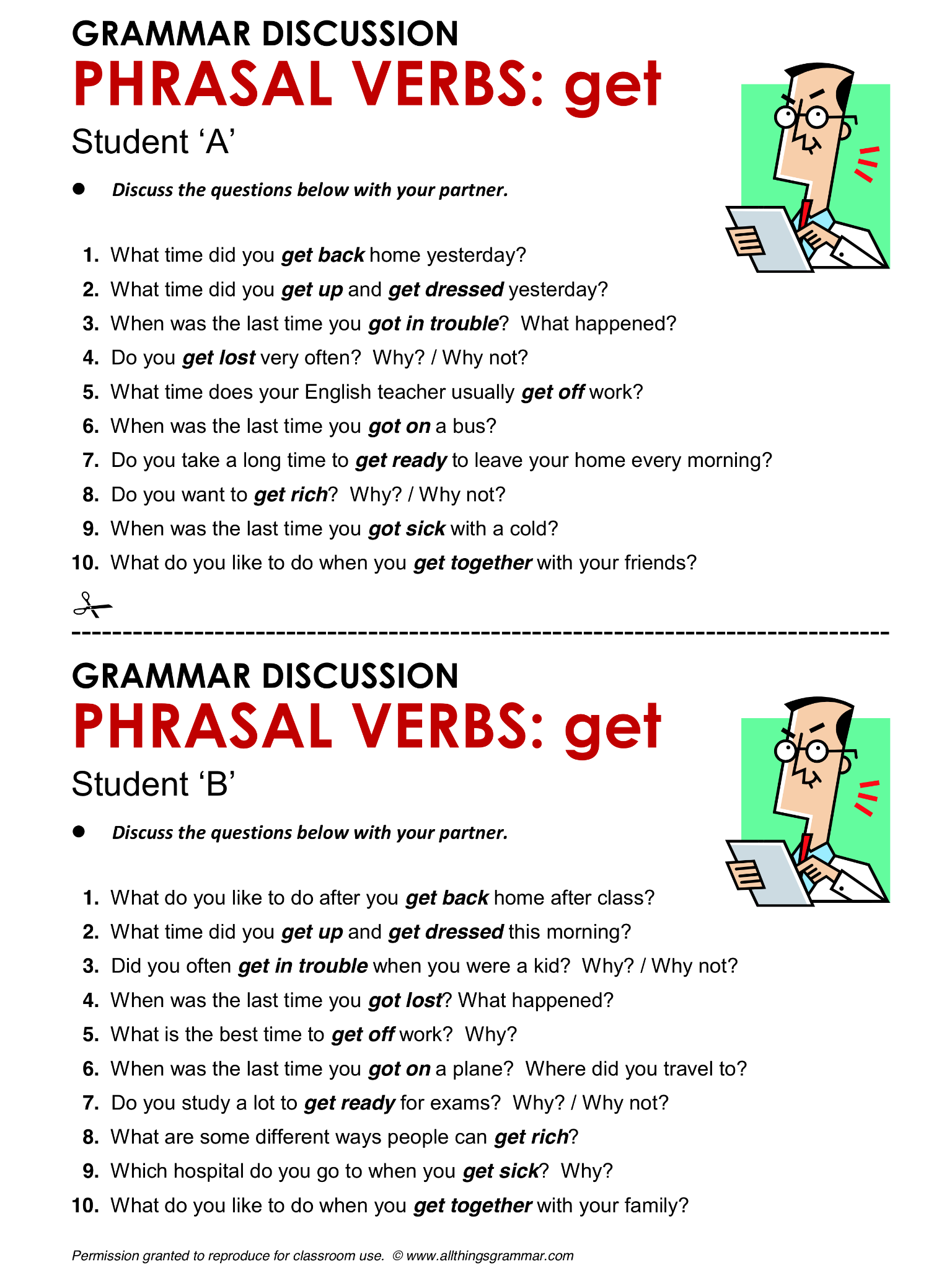 English Grammar Phrasal Verbs With Get