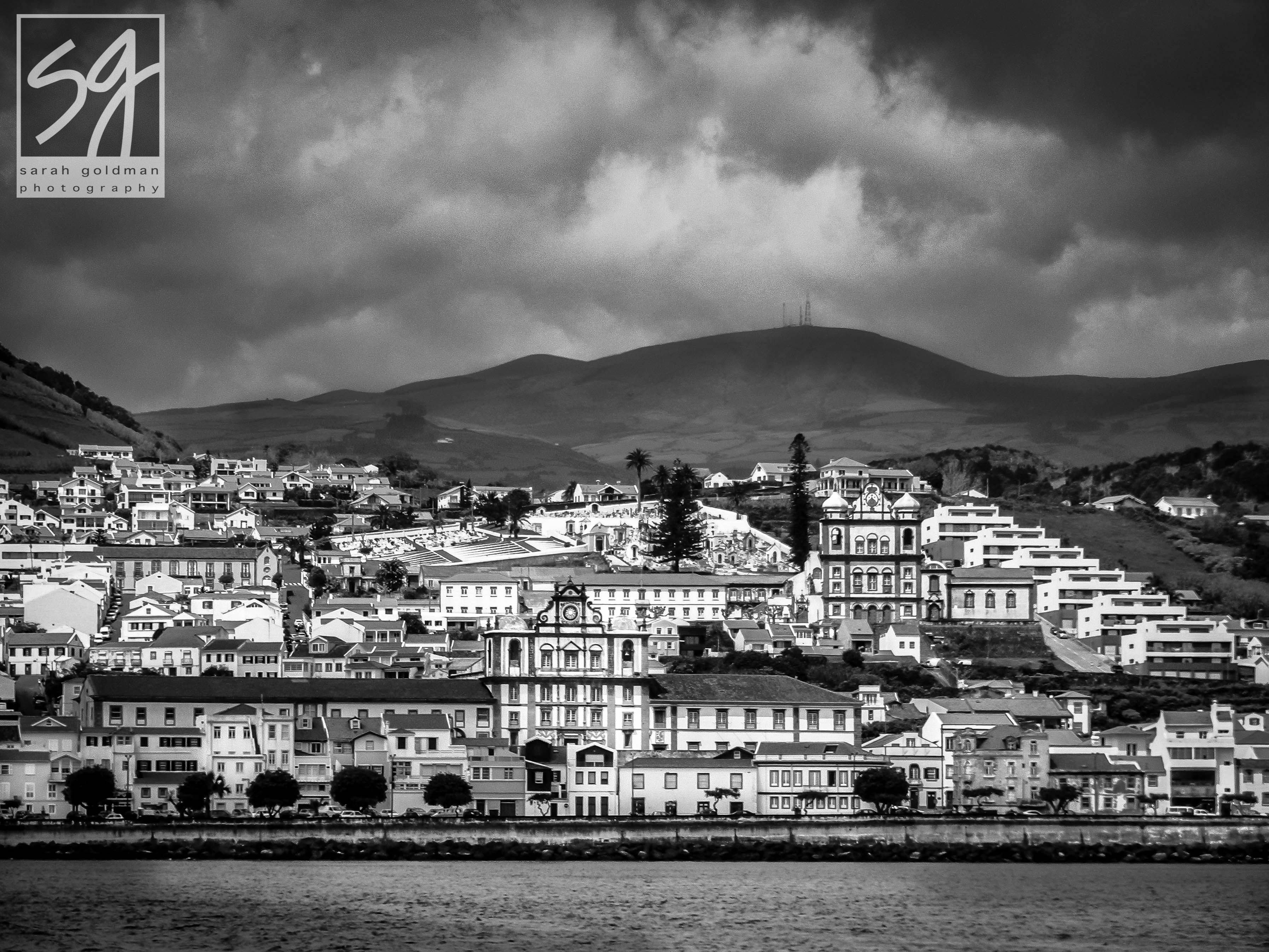 View of Horta,Faial Island, Azores from ferry to Pico Island sarah goldman photography