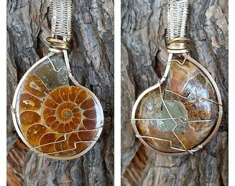 Wire wrapped ammonite fossil pendant in argentium 935 silver wire wrapped ammonite fossil pendant in argentium 935 silver healing gemstone ammonite wire wrap ammonite pendant ammonite jewelry fossil aloadofball Images