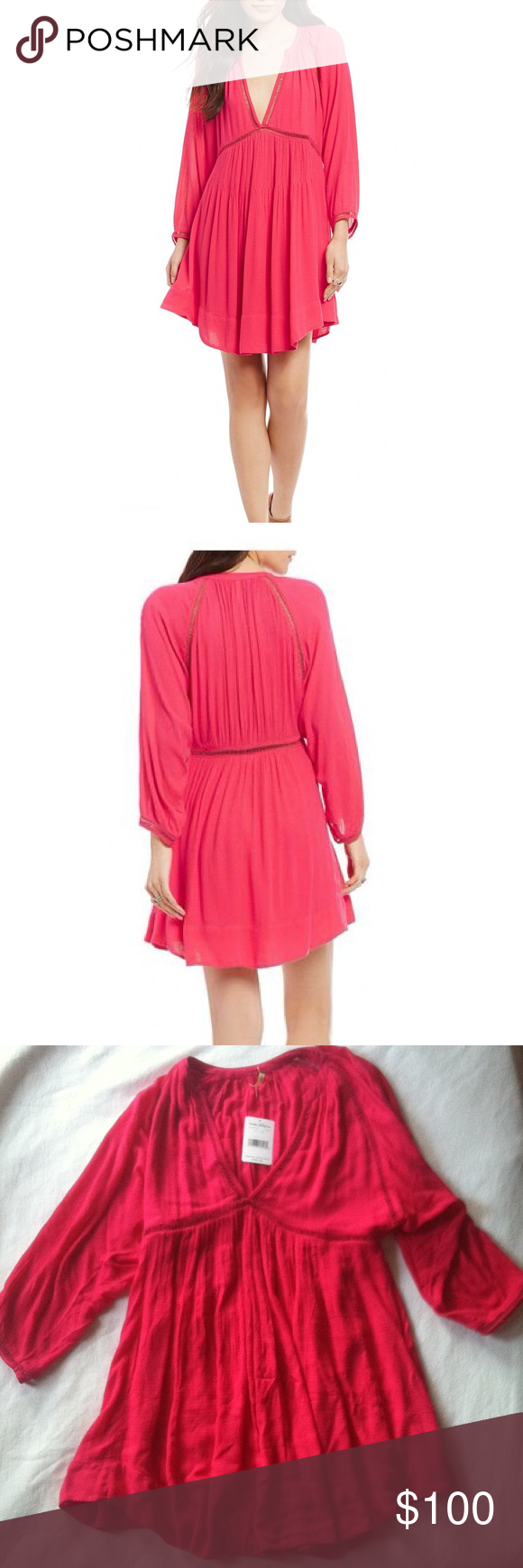 Nwt free people go lightly deep v solid mini dress this adorable