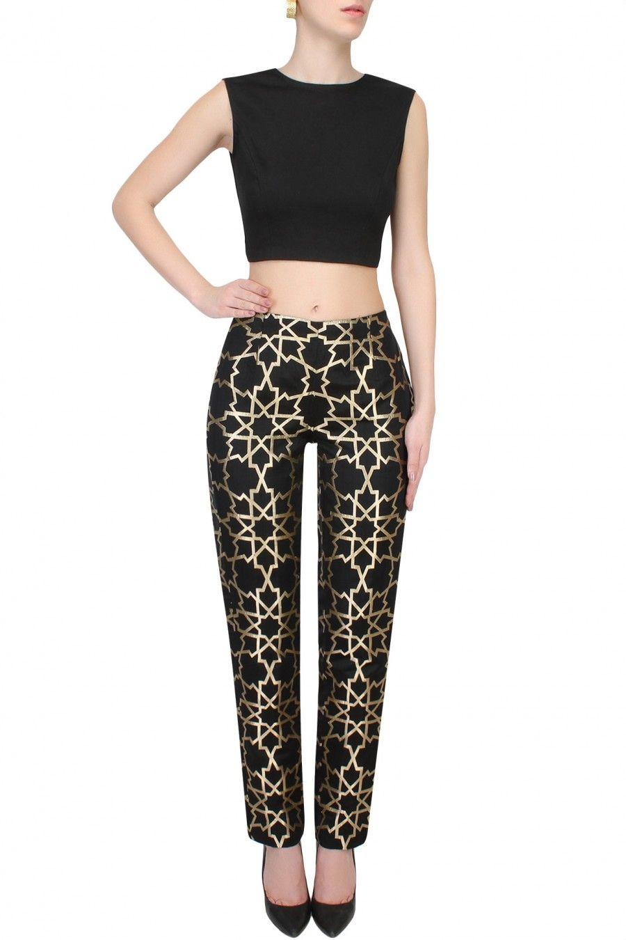f538fd21d44add SVA Black And Gold Geometric Brocade Pants