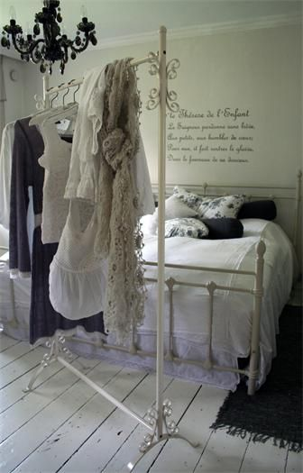 Shabby Chic Plain White Bedroom With A Touch Of Black Love The Free Standing Clothes Rack