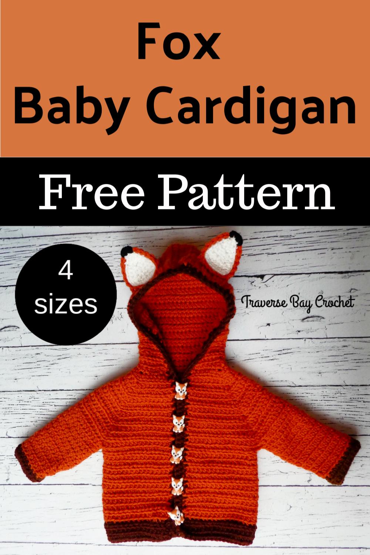 Fox Baby Crochet Cardigan - #crochetbabycardigan
