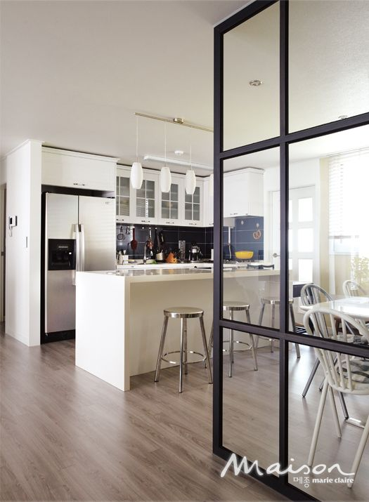 glass partition wall for kitchen dining area home decor