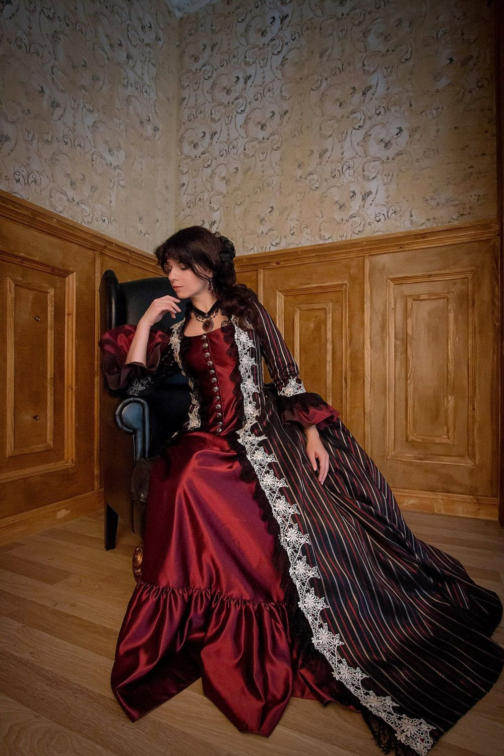 Victorian stripped costume bustle skirt dress made to order