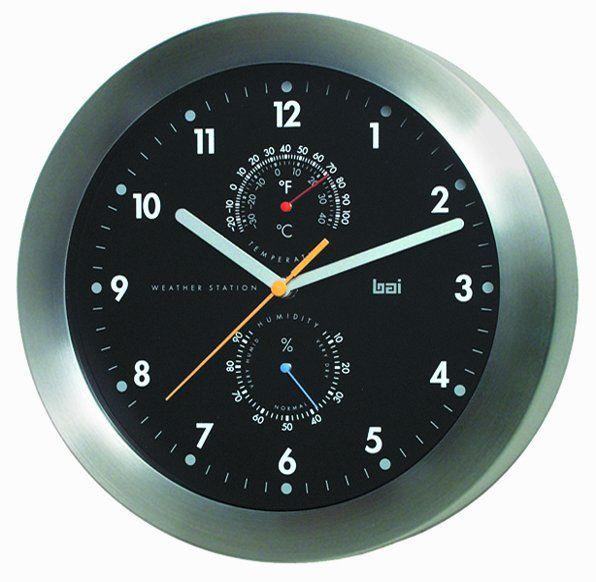 5 In 1 Designer Weather Station Wall Clock Black Wall Clock Weather Station Clock