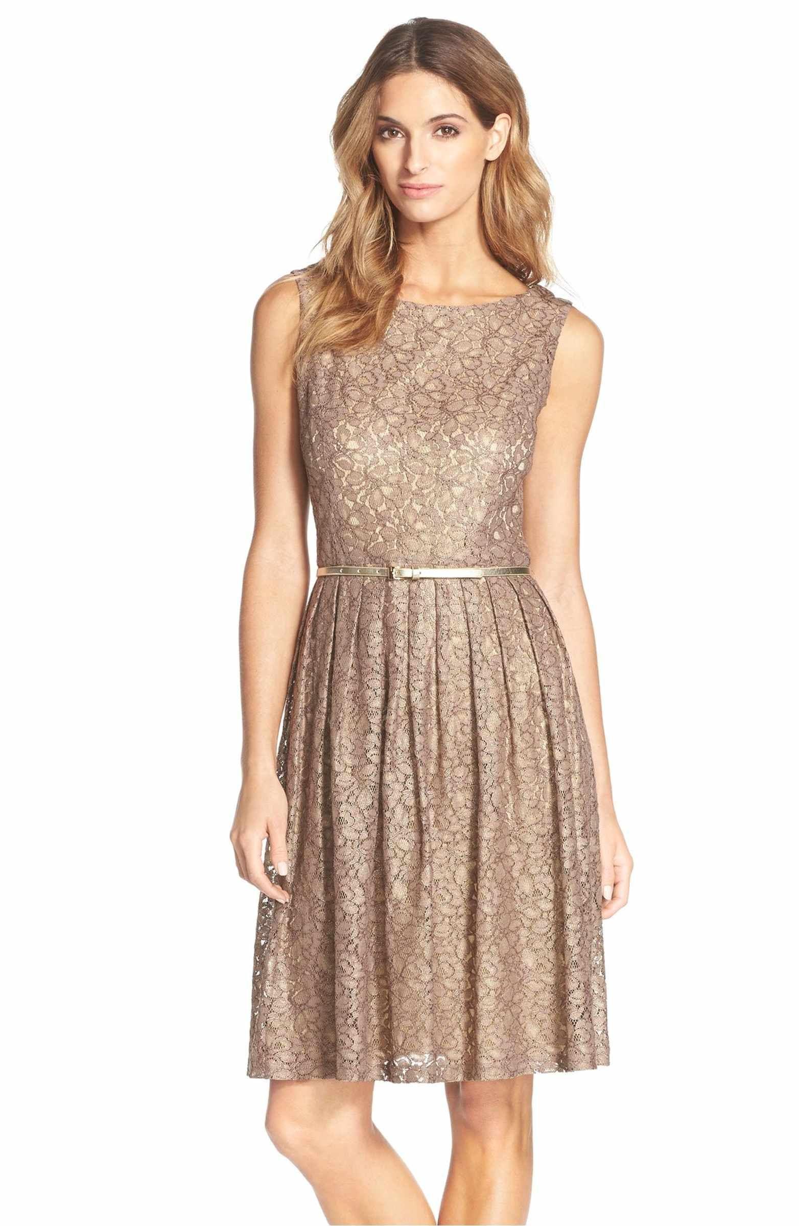 Main image ellen tracy pleated lace fit u flare dress regular
