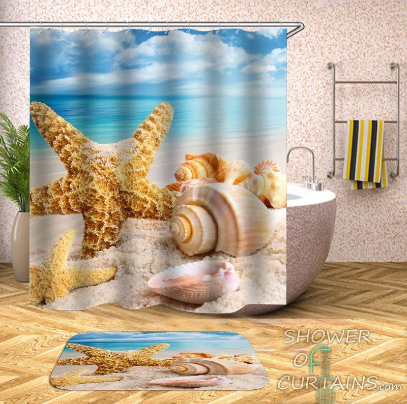 Starfish And Seashell  Shower Curtain - HXTC0826
