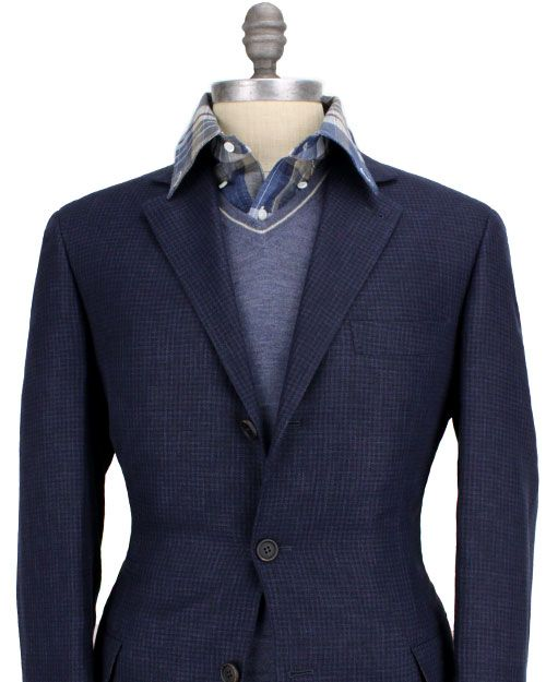 Brunello Cucinelli navy suit, cashmere sweater and checked linen sport shirt