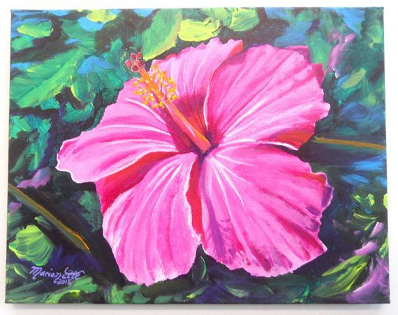 Pink Hibiscus Original Acrylic Painting From Kauai By