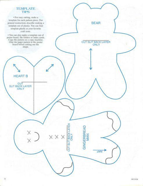 Christmas Ornaments Templates Gingerbread Man Bear And Heart