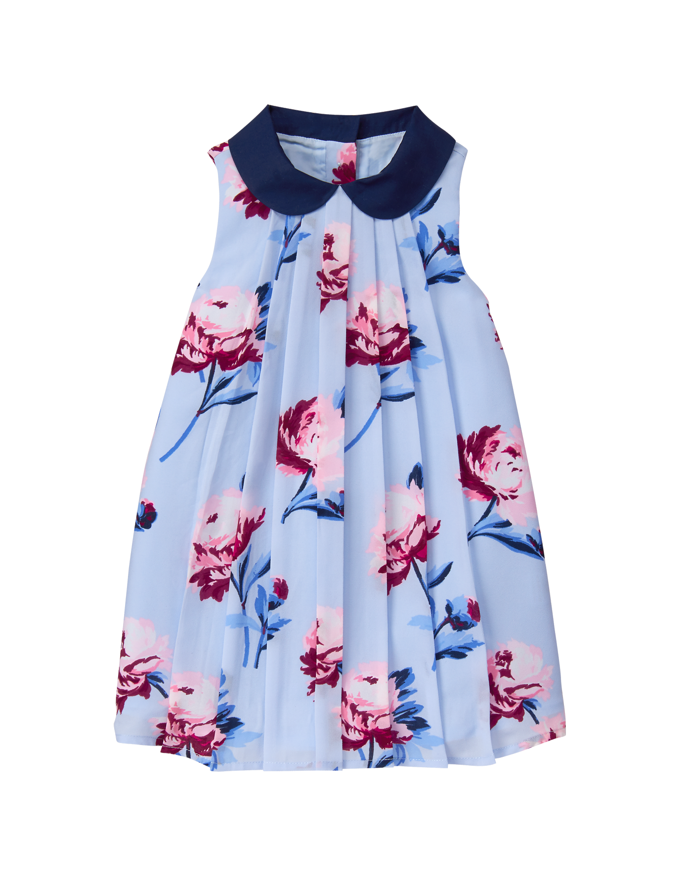 36fc53322 Beautiful blooms and sweet hues are perfect for our pleated dress. Finished  with Peter Pan collar.