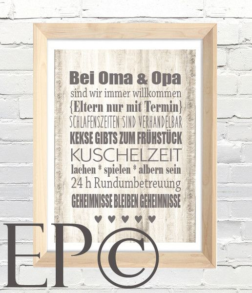 bei oma opa print 21x30 5cm omas dawanda und. Black Bedroom Furniture Sets. Home Design Ideas
