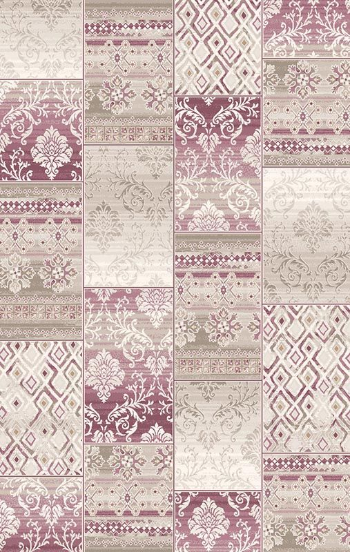 Flora Ceren 3247C VIZON -  Patchwork Desenli Halı